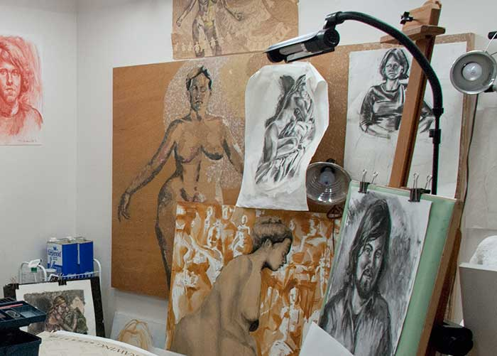 The studio with work in progress